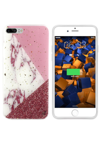 Colorfone Marble Glitter iPhone 8 Plus/7 Plus Wit