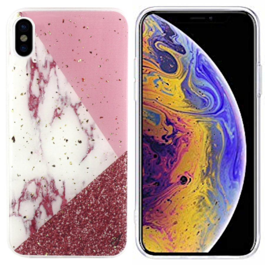 BackCover Marble Glitter für Apple iPhone Xs Max Weiß