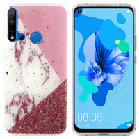 BackCover Marble Glitter voor Huawei P20 Lite 2019 Wit