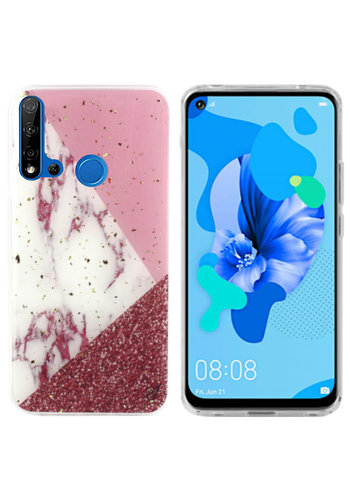 Colorfone Marble Glitter P20 Lite 2019 Wit