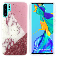BackCover Marble Glitter voor Huawei P30 Pro Wit