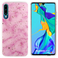 BackCover Marble Glitter für Huawei P30 Pink