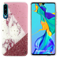 BackCover Marble Glitter voor Huawei P30 Wit