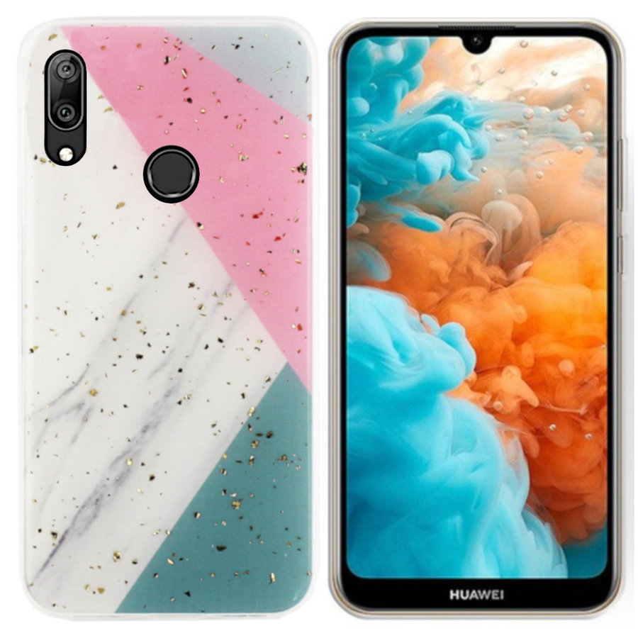 BackCover Marble Glitter voor Huawei P Smart Plus 2019 Grijs