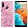 Colorfone BackCover Marble Glitter voor Huawei P Smart Plus 2019 Roze