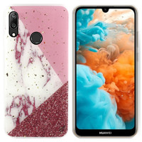 BackCover Marble Glitter voor Huawei P Smart Plus 2019 Wit