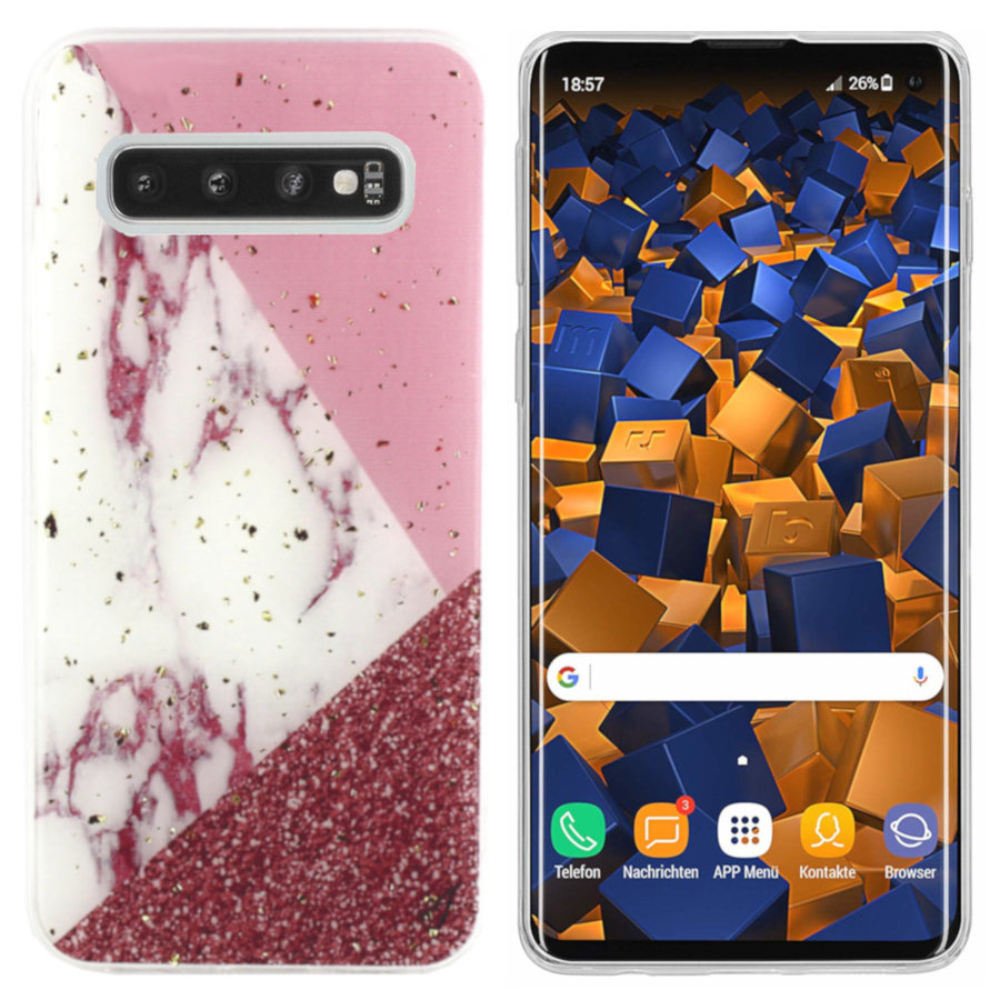 BackCover Marble Glitter voor Samsung S10 Wit
