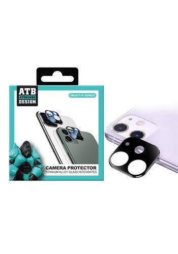 ATB Design Osłona obiektywu aparatu ze szkła hartowanego Titanium + iPhone 11, czarna