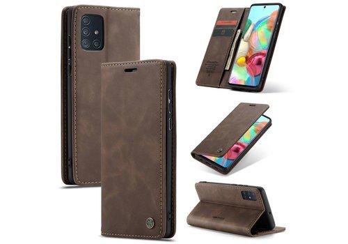 CaseMe Retro Wallet Slim voor A71 Bruin