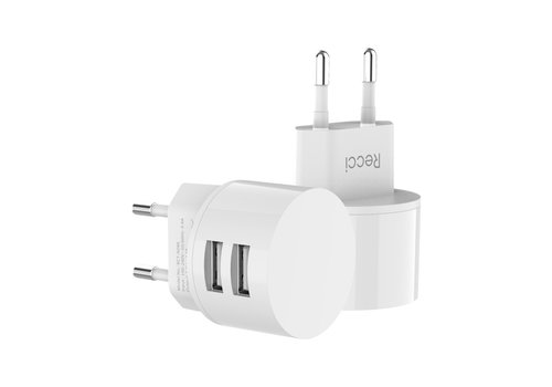 Recci Travel charger Dual USB White