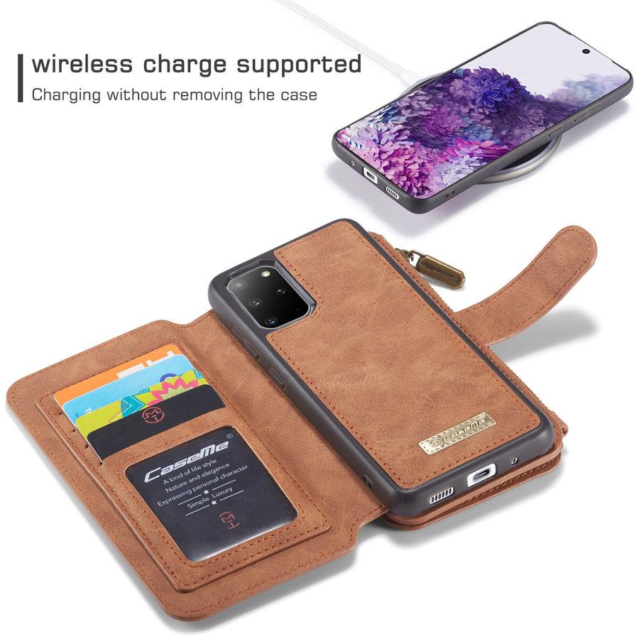 2 in 1 Zipper Wallet voor Samsung S20 Plus Bruin