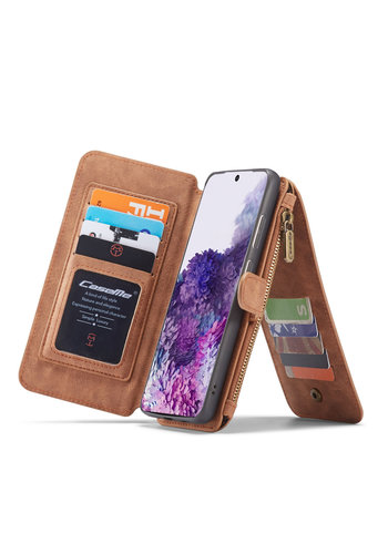 CaseMe 2 in 1 Zipper Wallet voor S20 Ultra Bruin