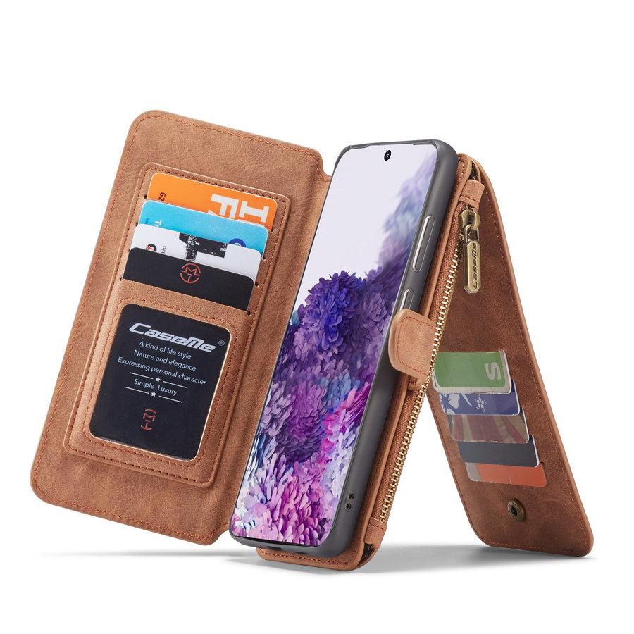 2 in 1 Zipper Wallet voor Samsung S20 Ultra Bruin