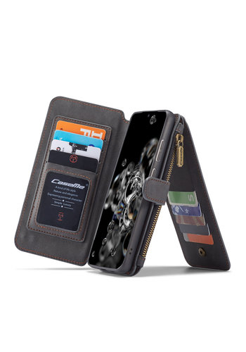 CaseMe 2 in 1 Zipper Wallet voor S20 Ultra Zwart