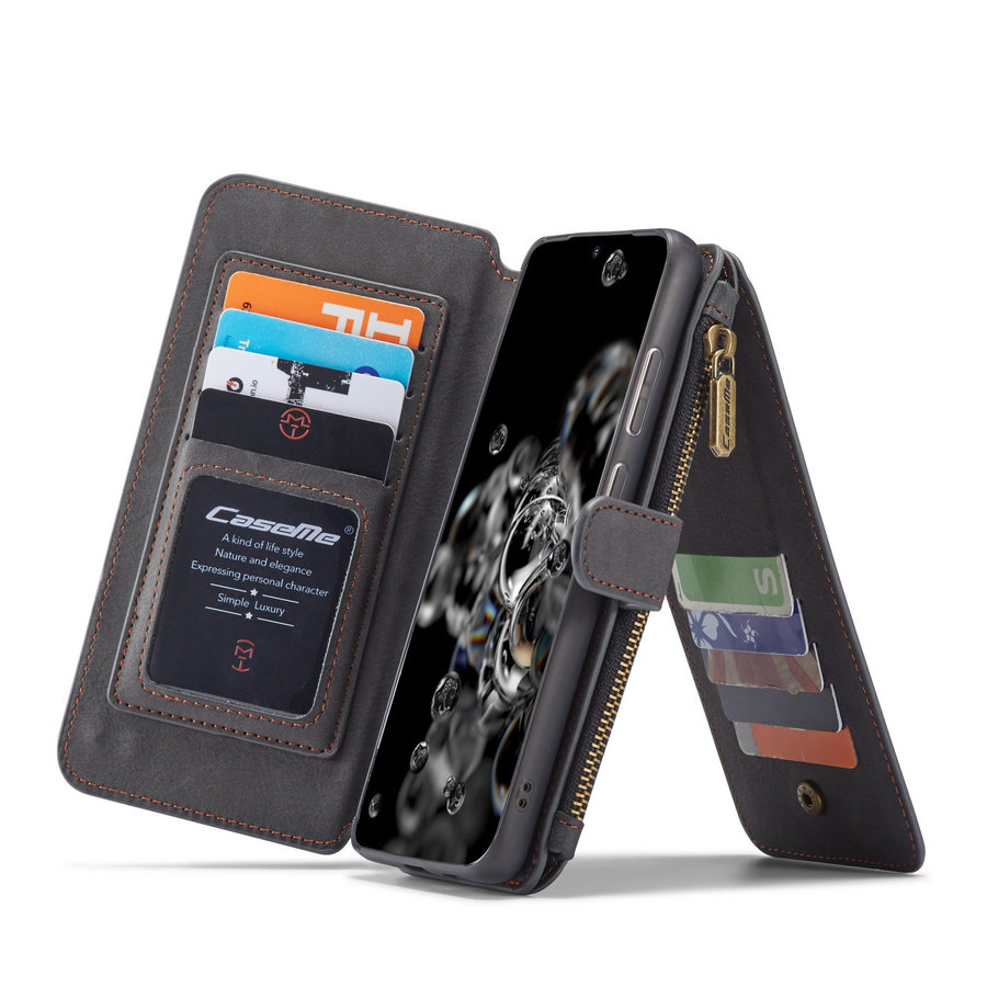 2 in 1 Zipper Wallet voor Samsung S20 Ultra Zwart