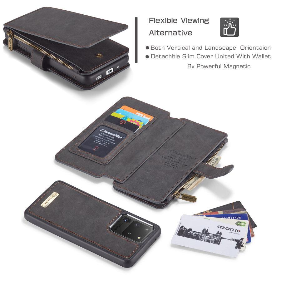 2 in 1 Zipper Wallet für Samsung S20 Ultra Schwarz