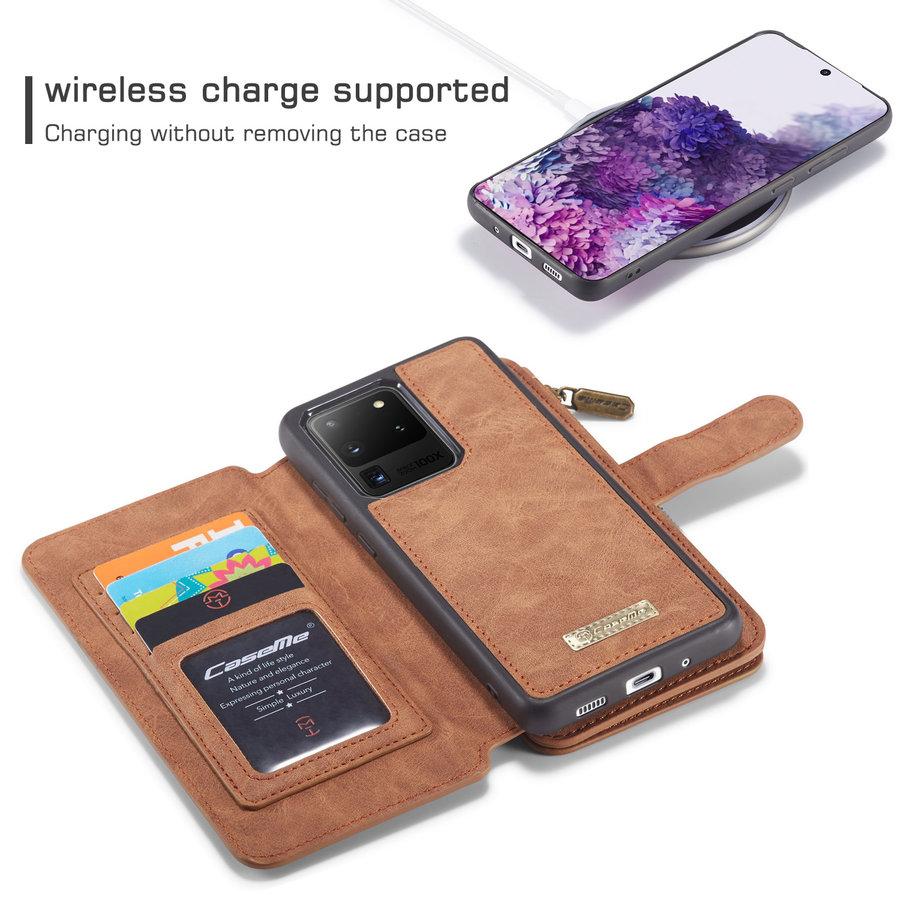 2 in 1 Zipper Wallet für Samsung S20 Ultra Braun