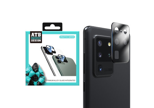 ATB Design Kameraobjektivschutz aus gehärtetem Glas aus Titan + S20 Ultra Black
