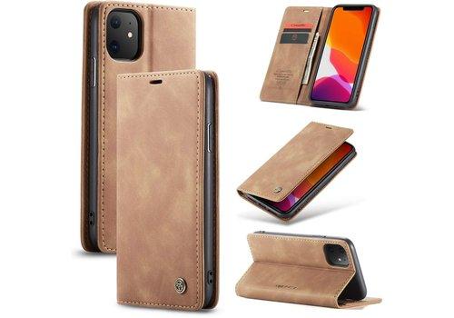 """CaseMe Retro Wallet Slim voor iPhone 12 Mini (5.4"""") L.Bruin"""