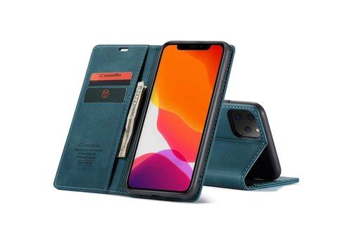 """CaseMe Retro Wallet Slim voor iPhone 12 Mini (5.4"""") Blauw"""