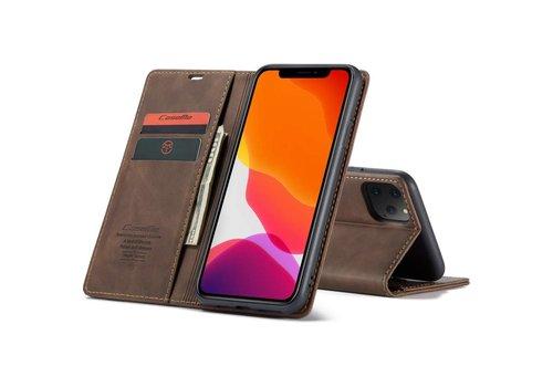 """CaseMe Retro Wallet Slim voor iPhone 12 / 12 Pro (6.1"""") Bruin"""