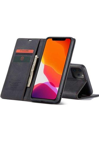 """CaseMe Retro Wallet Slim voor iPhone 12 Pro Max (6.7"""") Zwart"""