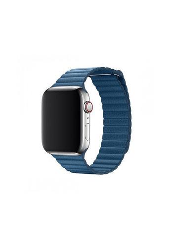 Devia Elegancki skórzany pasek Apple watch 38 / 40mm niebieska