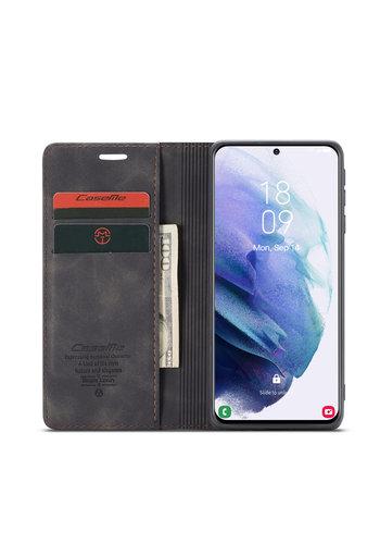 CaseMe Retro Wallet Slim für S21 Schwarz