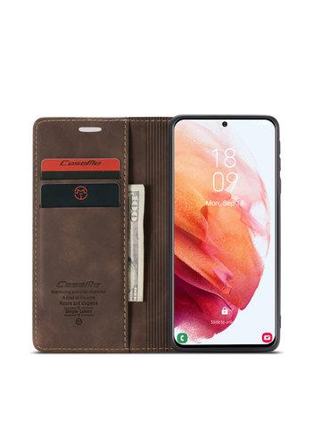 CaseMe Retro Wallet Slim voor S21 Bruin