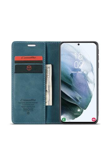 CaseMe Retro Wallet Slim voor S21 Blauw