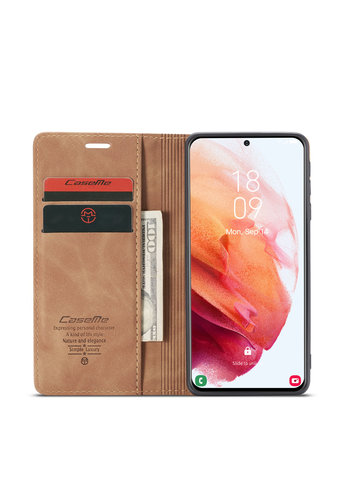 CaseMe Retro Wallet Slim for S21 Plus L. Brown