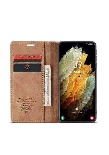 CaseMe Retro Wallet Slim voor S21 Ultra L.Bruin
