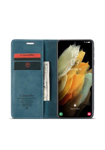 CaseMe Retro Wallet Slim voor S21 Ultra Blauw