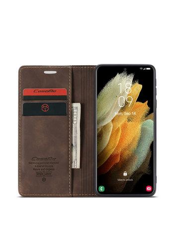 CaseMe Retro Wallet Slim voor S21 Ultra Bruin