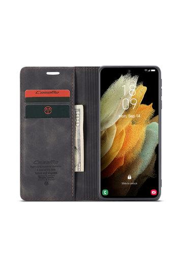 CaseMe Retro Wallet Slim voor S21 Ultra Zwart