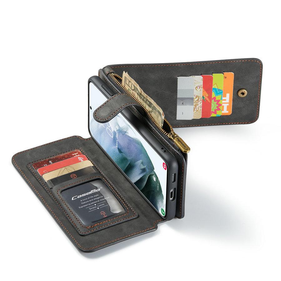 2 in 1 Zipper Wallet voor Samsung S21 Zwart