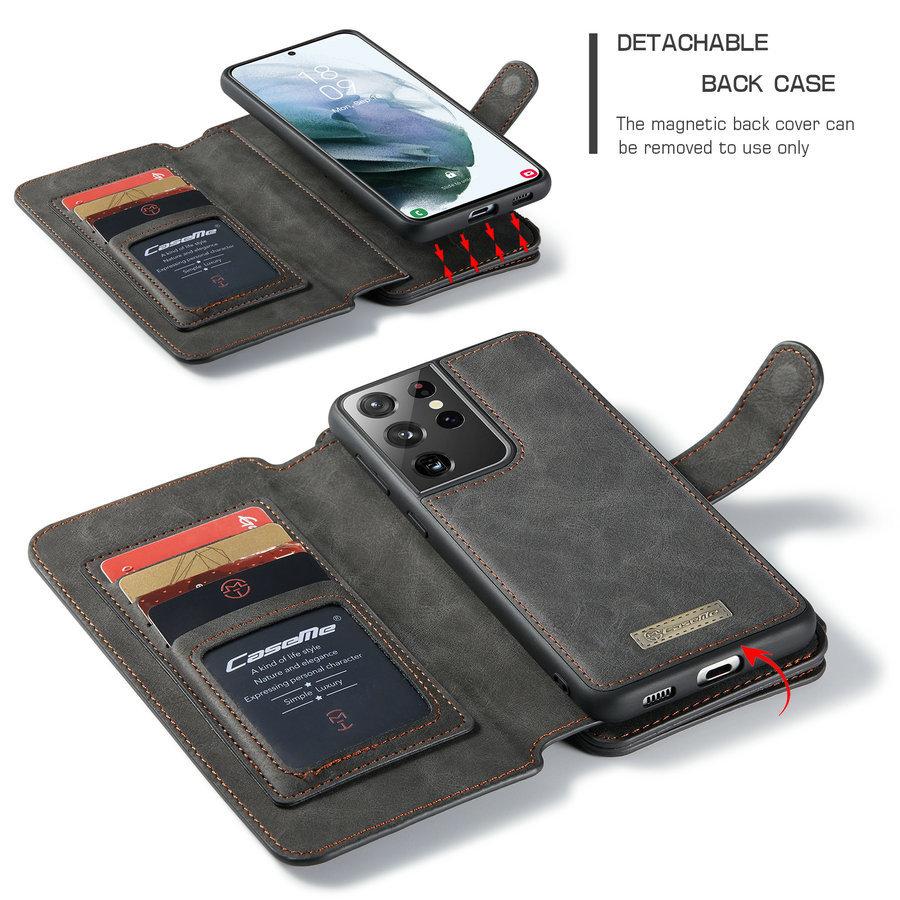 2 in 1 Zipper Wallet für Samsung S21 Plus Black