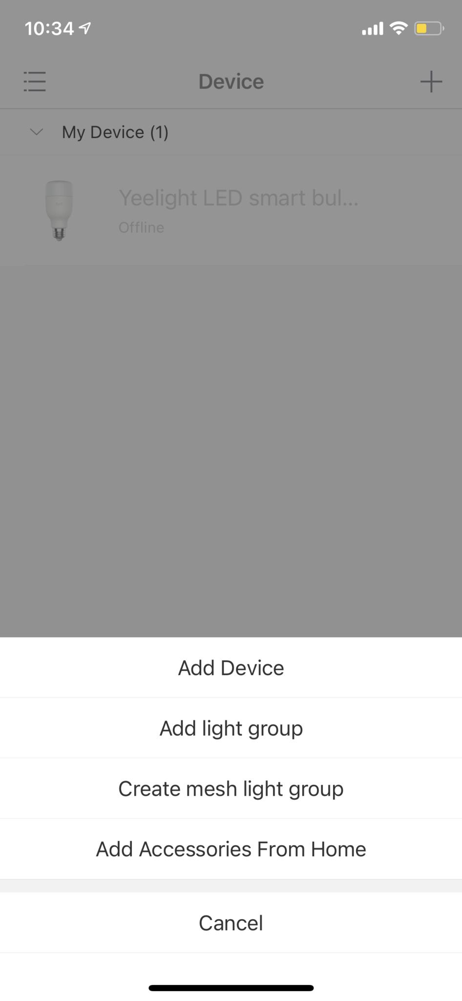 Yeelight App Add Device