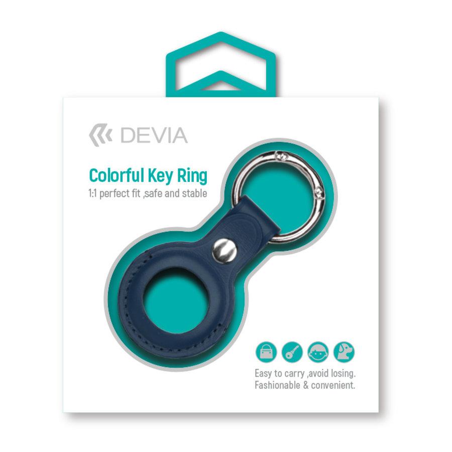 Apple AirTag Leder Sleutelhanger Ring Blauw