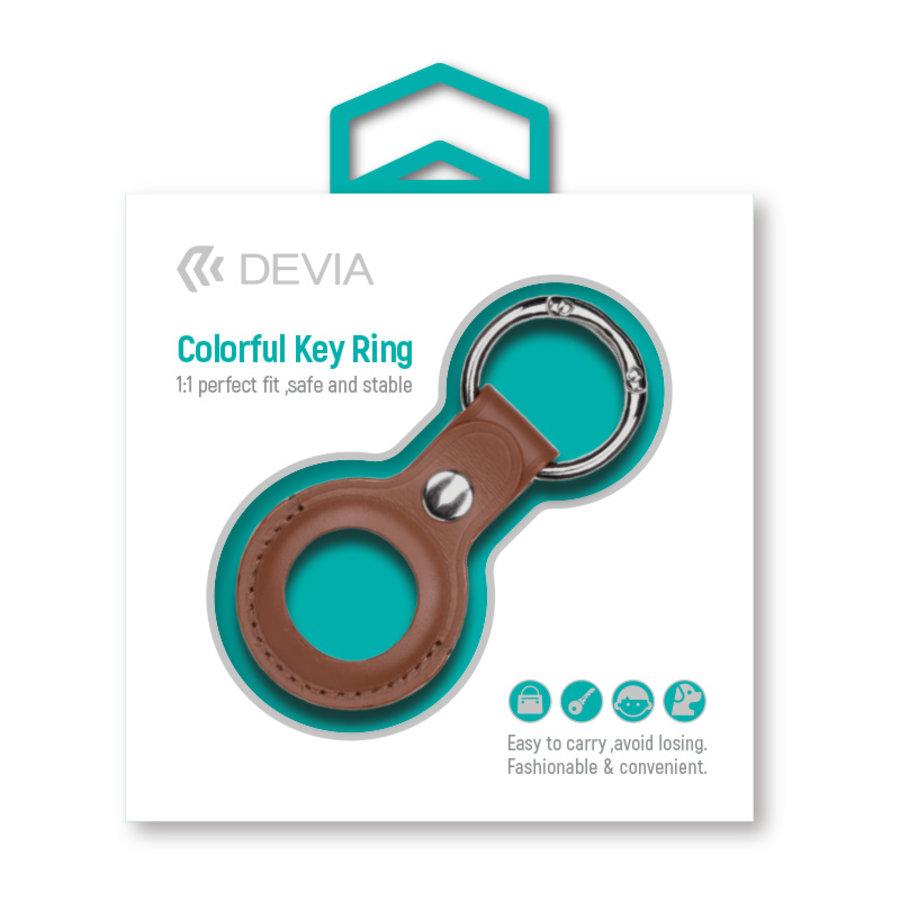 Apple AirTag Leder Schlüsselanhänger Ring Braun
