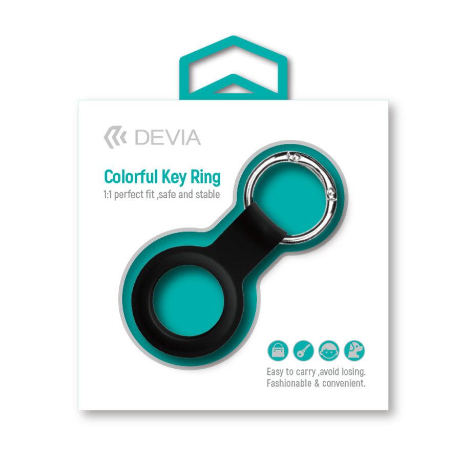 Apple AirTag Silikon Schlüsselanhänger Ring Schwarz