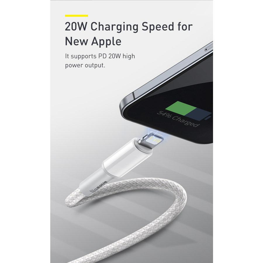 20W PD Kabel Type-C naar Lightning 1m Wit