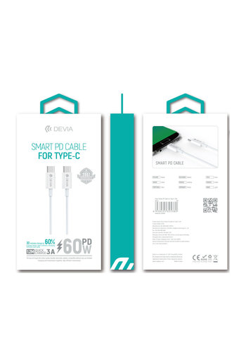 Devia Type-C naar Type-C 60W PD Fast Charge 1M