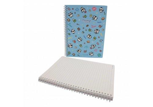 Moongs Moongs panda large notebook - blauw