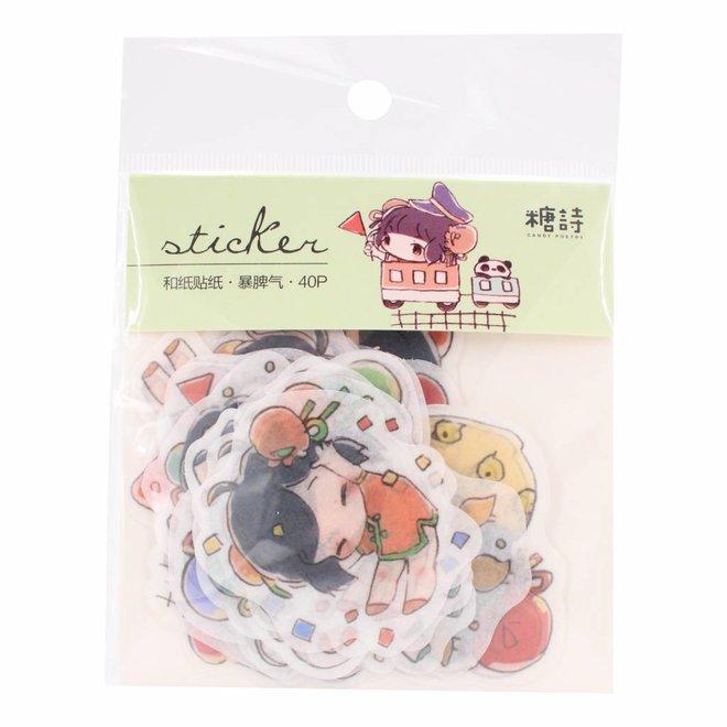 Kawaii girls stickers V1