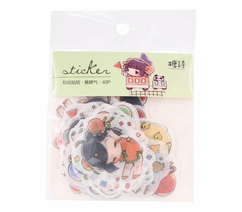 Kawaii girls stickers Versie 1