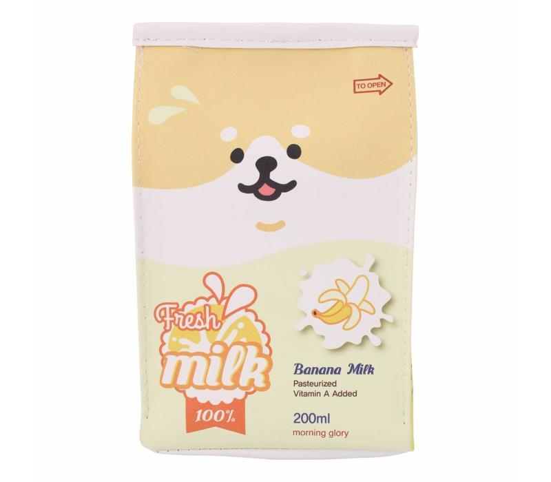 Moongs milk carton pencil case wide - banana
