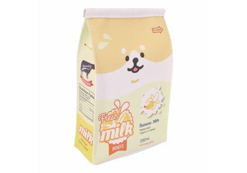 Moongs Moongs milk carton pencil case wide - banana