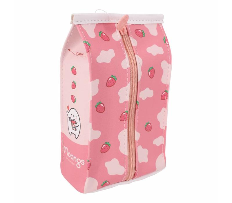 Moongs milk carton pencil case wide - strawberry