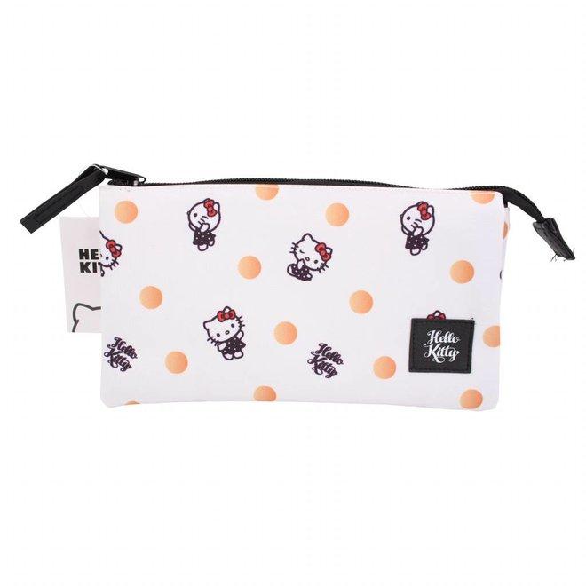 Hello Kitty triple pencil case - Polka Dots